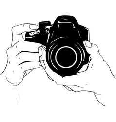 Camera in hands vector