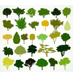 Silhouettes of trees set vector