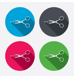 Scissors with cut line sign icon tailor symbol vector