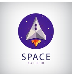 Modern origami space rocket icon vector