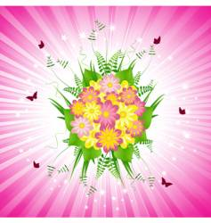 Pink floral bouquet and starburst vector