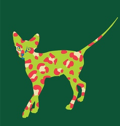 Green cat art print vector