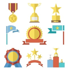 Flat design style awards and trophy icons set vector