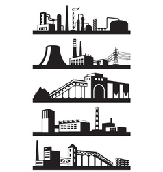 Industrial plants in perspective vector