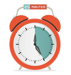 Twenty five minutes stop watch - alarm clock vector
