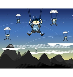 Soldiers coming from the sky vector