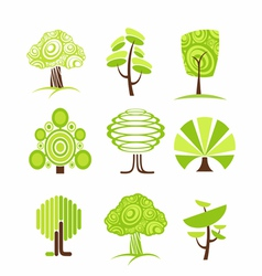 Tree icon and symbols vector