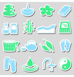 Spa and relaxation simple color stickers set eps10 vector
