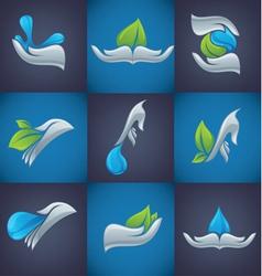 Hands and nature symbols vector