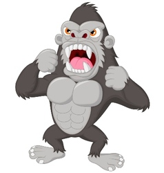 Angry gorilla cartoon character vector