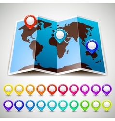 Map world with colorful pin pointers location vector