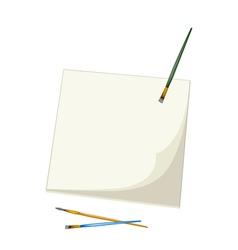 Artist brushes lying on a blank sketchbook vector