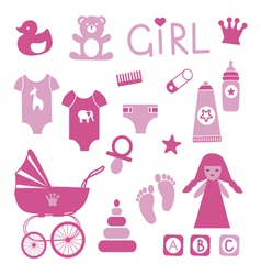 Baby girl icons set vector