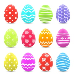 Easter set colorful ornate eggs with shadows vector