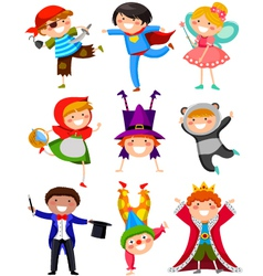 Kids in costumes vector
