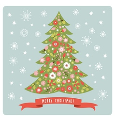 Christmas tree with flowers vector