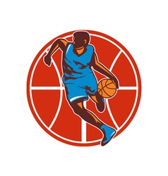 Basketball player dribble ball front retro vector