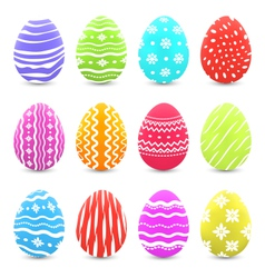 Easter many multicolored ornate eggs with shadows vector