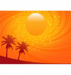 Summer sunset and palm treese vector