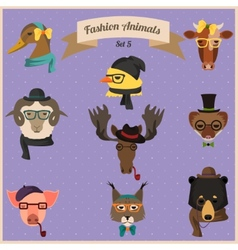 Fashion hipster animals set 5 vector