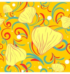 Yellow siamles with flower petal and swirl vector