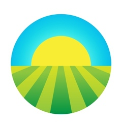 Sun rising under the field icon vector
