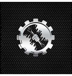 Silver hand holding wrench in gear vector