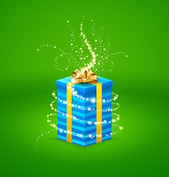 Magic light comes from a beautiful gift box closed vector