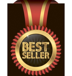 Best seller golden label with ribbons vector