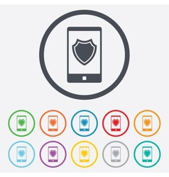 Smartphone protection sign icon shield symbol vector