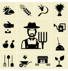 Farmer surrounded by farming themed icons vector