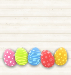 Easter colorful eggs on wooden texture - vector