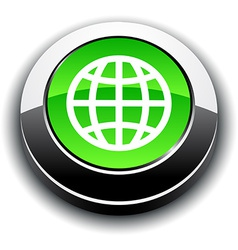 Earth 3d round button vector