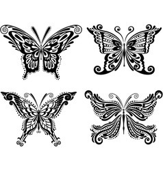 Beautiful butterfly set vector