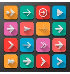 Set arrows icons flat ui design trend vector