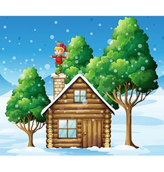 An elf above the house in the snowy land with vector