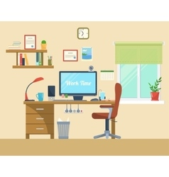 Flat of modern office vector