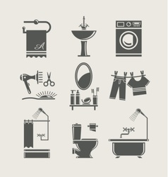 Bathroom equipment set icon vector
