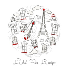 White background with music and tour eiffel vector