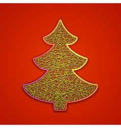 Fir-tree embroidered on cardboard vector