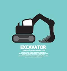 Excavator black graphic symbol vector