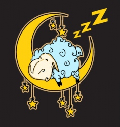 Sheep sleeping on the moon vector