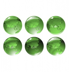 Green globe icons vector