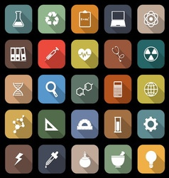 Science flat icons with long shadow vector