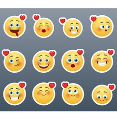 Smileys with hearts vector