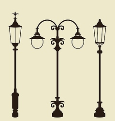 Set of vintage various forged lampposts vector