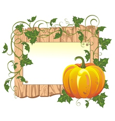 Pumpkin on the wooden background vector