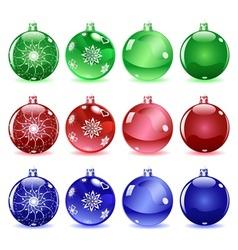 Multicolored christmas balls set 1 of 4 vector