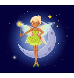 A fairy holding a wand in front of the crescent vector