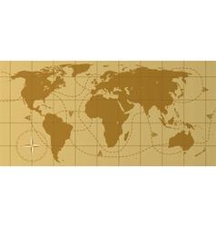 Retro world map vector
